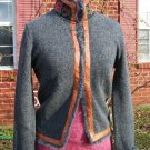 Free People Gray Wool Sweater Jacket Ornate Trim M NWOT