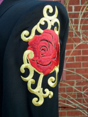 Vintage Cache' Criscione Embroidered Rose Black Blazer Jacket S