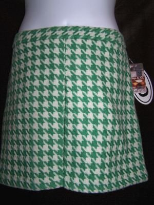 Paul & Joe Wool Houndstooth Skirt Perfect Mint Green 13 NWT New