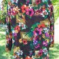 Carole Little Open Sheer Crepe Full Jacket Tropical Print M-L