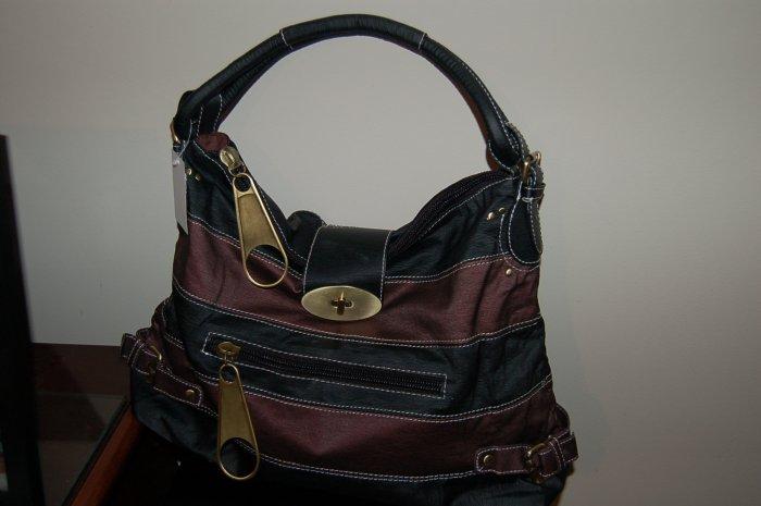 Designer Inspired Striped Twist Lock Large Hobo Bag