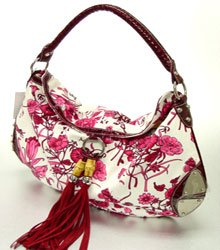 Designer Inspired Wine Alligator Floral HoBo Bag