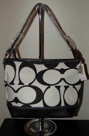 Linen C Bag with Faux Leather Trim