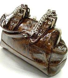 Faux-Leather Silver Chain Straps Satchel Bag