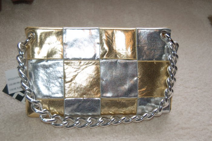 Silver & Gold Patch Clutch Bag