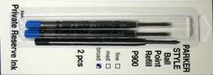 Parker Style Ballpoint Ink Refill Blue Broad Point 2 Pack