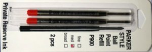 Parker Style Ballpoint Ink Refill Red Medium Point 2 Pack