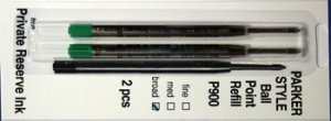 Parker Style Ballpoint Ink Refill Green Broad Point 2 Pack