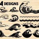 Wave Digital Art SVG, PNG, EPS, dxf, jpg Digital Download
