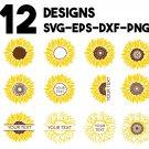 Sunflower, Sunflower Monogram Digital Art SVG, PNG, EPS, dxf, jpg Digital Download