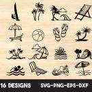 Beach silhouette Digital Art SVG, PNG, EPS, dxf, jpg Digital Download