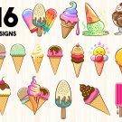 Ice Cream bundle Digital Art SVG, PNG, dxf, jpg Digital Download
