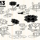 Lotus Flower bundle Digital Art SVG, PNG, EPS, dxf, jpg Digital Download