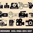 Camera bundle Digital Art SVG, PNG, EPS, dxf, jpg Digital Download