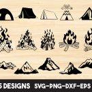 Camping Campfire Digital Art SVG, PNG, EPS, dxf, jpg Digital Download
