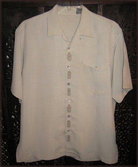 TORI RICHARD Silk Embroidered Tiki-Tiki Hawaiian Shirt M Medium