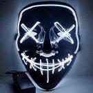 Halloween EL Light Mask White Base Cold LED Mask