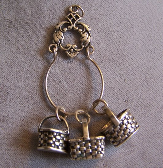 Longaberger Sterling Silver Basket Charms with Charm Holder