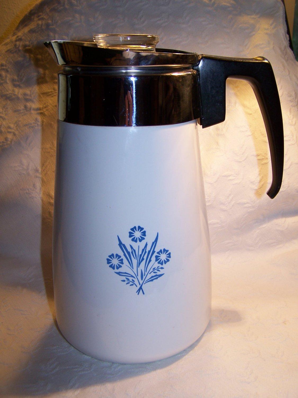 Corning Ware 10 Cup Percolator Cornflower Blue Stovetop Coffee Pot Corningware
