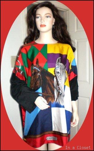 RALPH LAUREN Vintage Horse Equestrian Silks Logo'd Top