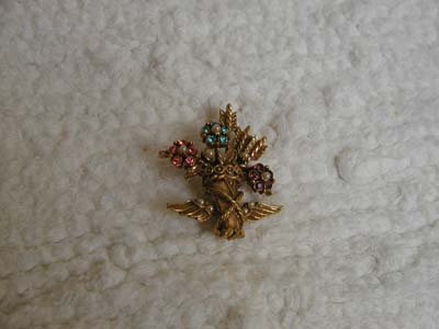 Vintage Brooch With Colored Stones