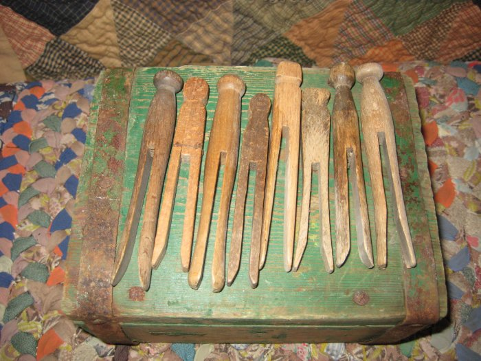 Primitive Green Painted Box with Clothes Pins