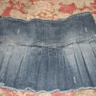 Hydraulic Pleated Distressed Jean Skirt