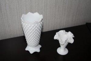 Two Vintage Fenton Hobnail Vases