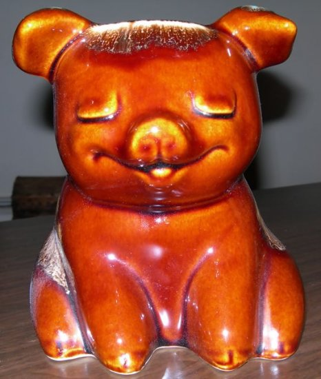 Hull Piggy Bank - Sitting Pig - Brown w/ Drip Turquoise