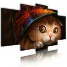 little pussy cat canvas wall art, framed wall art, bedroom wall art