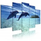 dolphins in the sea canvas art, framed wall art, living room art