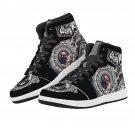 skull design on high top men women sneakers, custom shoes, run shoes