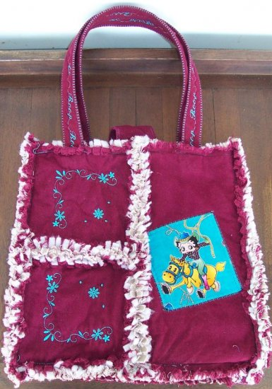 """Ragged Quilted Embroidered """"Boop"""" Diaper purse Bag"""