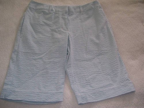 Womens New Sophie Max Seersucker Black White Bermuda Shorts 4
