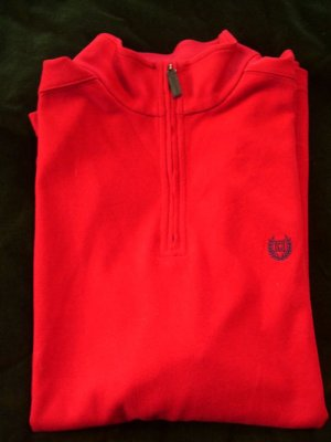 Mens Sweater New Chaps True Apple Red Knit Half Zip Top L