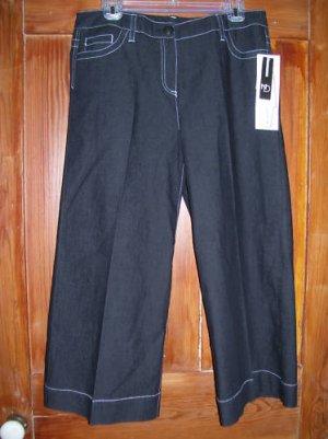 Womens New Directions Black Gaucho Pants 6 NWT