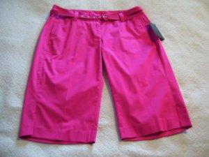 Womens New Rafaella Hot Pink Sateen Modern Fit Bermudas 6