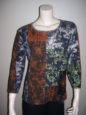 Womens Knit Blouse Large Chicos Black Brown Top 2 L