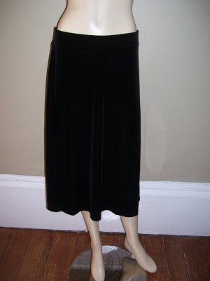 Womens Holiday New Clothing Jaclyn Smith Black Velour Velvet Skirt M NWT