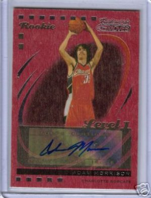 2007 208 Adam Morrison Trademark Moves Red Wood Auto 3/3