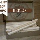 "Set of 40PC 1-1/4'' Wooden Dowel Rods (30 mm), 20"" Long Beech Wood Pegs (50cm)"