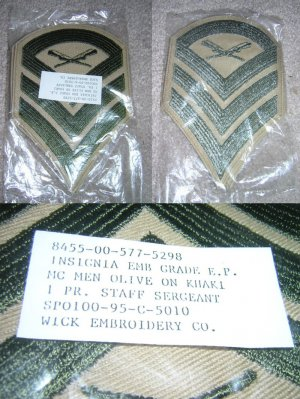 Two Staff Sergeant Insignia Patches, Packaged Unused