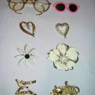 Sarah Cov. Plus Other Mixed Lot Of Broach Pins, Flowers, Hearts, Animals & Glasses