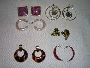 Six Sets of Earring Mixed Lot Pierced Ear, Retro Style, Plastic & Metal
