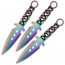 "3PC 7.5"" Ninja Tactical Combat Naruto Kunai Rainbow Throwing Knife Set"
