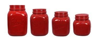 Red Ceramic Mason Jar 4 piece Canister Set
