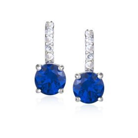 Sterling Silver Simulated Sapphire and Cubic Zirconia Round Drop Earrings