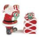 Fitz and Floyd Peppermint Santa  Candleholders