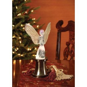 Angel Christmas Table Topper-Lighting LED White Pulsing Reflections