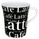 Konitz 12-Ounce Cafe Latte Writing On Black Mugs, Black/White, Set of 4